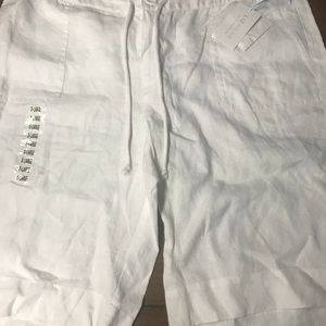 Lizwear by Liz Claiborne white linen shorts